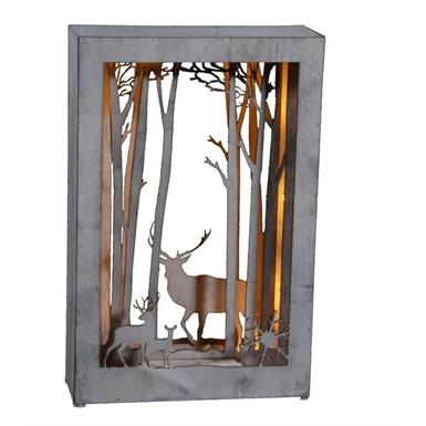 Bild aus Holz - Hirsch Design 10 LED - H: 37 L: 24cm White Washed