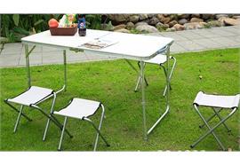 Campingtisch Set faltbar mit 4 Klappstühlen Farbe: Weiss