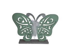 Deko Schmetterling aus Holz  auf Holzsockel  Farbe: Grün