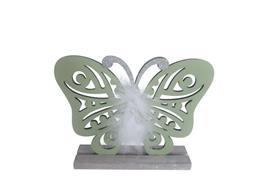 Deko Schmetterling  aus Holz  auf Holzsockel  Farbe: Hellgrün