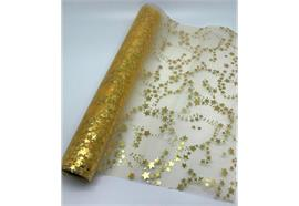 """Dekostoff """"Organza"""" - gold+gold Sterne Design:Sternenwirbel 36cm x 300cm - gerollt"""