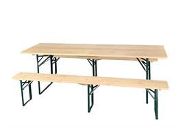 Festbank Garnitur klappbar, Holz, Tisch: 220x70cm Bänke: 220x25cm