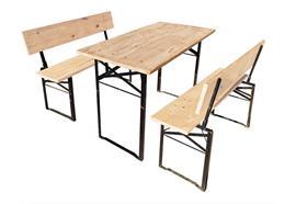 Festbank Garnitur mit Rückenlehne, Holz, Tisch: 116x60cm Bänke: 116x28cm