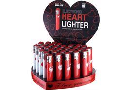 Feuerzeug U-301 Heart Lighter / Display Rot und Weiss mit Motiv
