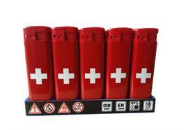 Feuerzeuge Major elektronisch mit Schweizer Kreuz HC Red / Red Top