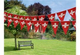Girlande mit 24 Wimpel(Triangle) Schweiz L: 450cm - Wetterfest beideitig bedruckt