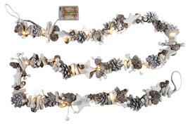 Holz Girlande mit 20 LED - Tannzapfen, weisse Beeren, Holzsterne L: 180cm