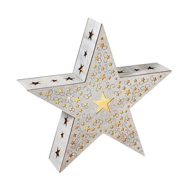 Holz Stern m. Sternen Design - 10 LED - D:34cm m. Folie u. 3D Effekt White washed