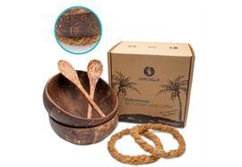 Kokosnuss Schalen 2er Set  2 Löffel plus 2 handgeknüpfte  Schalenhalter