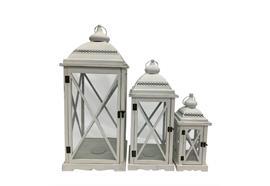 Laterne 3er Set FSC aus Holz mit weissem Metalldach Farbe: Weiss