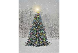 LED Bild aus Canvas 1 LED + 30 Fibre Optics Motiv:Tannenbaum B:30cm H:40cm T:1.8cm