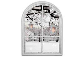 LED Bild aus Canvas - 2 LED Motive: Fenster Winterlandschaft L:28cm B:1.8cm H:38cm