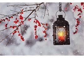 LED Bild aus Canvas, Motiv: Laterne Winter 1 LED + 30 Fibre Optics