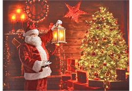 LED Bild aus Canvas Motiv: Santa Claus / Tannenbaum 5 LED + 40 Fibre Optic