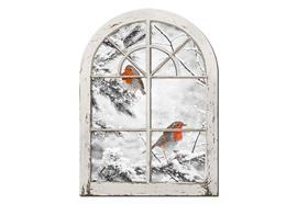 LED Bild aus Canvas Motive: Vögel am Fenster 30 Fibre Optics L:28cm B:1.8cm H:38cm