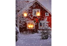 LED Bild aus Canvas Motive: Winterlandschaft rotes Haus 4 LED+20 Fibre Optics