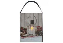 LED Bild aus Canvas zum hängen Motive: Laterne - 1 LED L:15cm B:1.8cm H:20cm
