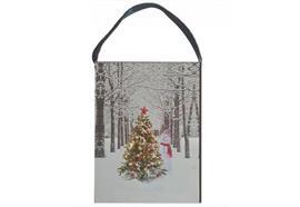 LED Bild aus Canvas zum Hängen Motive: Weihnachtsbaum in Allee 20 Fibre Optics
