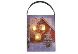 LED Bild aus Canvas zum hängen Motive: Winterlandschaft rotes Haus 3 LED