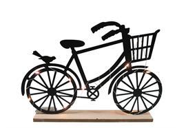 LED Fahrrad aus Metall  auf Holzsockel H:24cm  mit 13 LED  Farbe: Schwarz