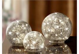 LED-Glas-Ball 3er Set - gebrochenes Glas (Crack) - D: 10/12/15cm Warm weisses Licht