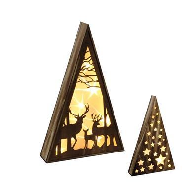 LED Holz-Pyramide m. Hirsch 10 LED - H:39cm Fired Brown Holz m. Brown Fired Hirschen
