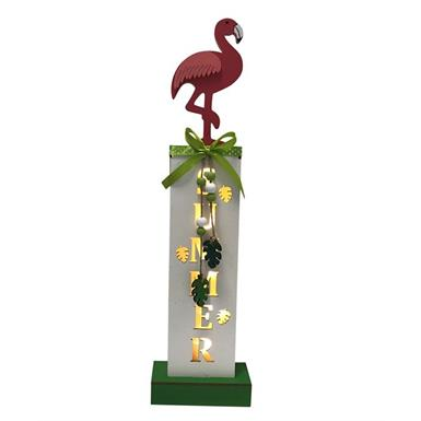 "LED Holzständer ""Flamingo"" Summer B: 11cm T: 5cm H: 40cm - 5 LED FSC HOLZ"