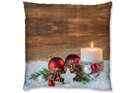 LED Kissen mit Reisverschluss 1LED Motiv: Kugel/Kerze Grösse: 40cm x 40cm