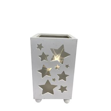 LED Laterne mit Sternen Design - Weiss - 11x11x18.5cm Material: MDF