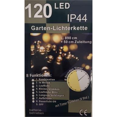 LED Lichterkette Outdoor - Batteriebetrieben - 120 LED mit 6h Timer u. 8 Funktionen