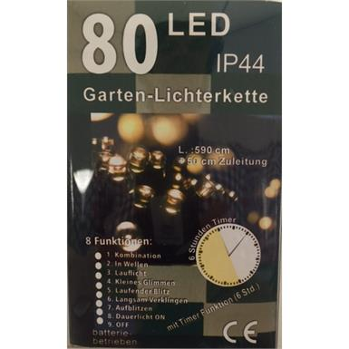 LED Lichterkette Outdoor - Batteriebetrieben - 80 LED mit 6h Timer u. 8 Funktionen