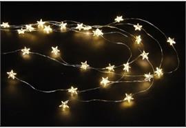 LED Micro Draht Lichterkette mit Sternen 30 LED L: 100cm silber Draht