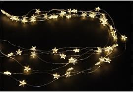 LED Micro Draht Lichterkette mit Sternen 50 LED L: 140cm silber Draht
