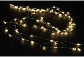 LED Micro Draht Lichterkette mit Sternen 80 LED - L: 130cm, warm weisses Licht