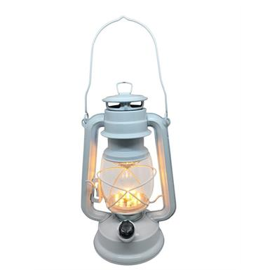 LED Sturmlampe dimmbar Metall im Retro-Design Farbe: Weiss - Höhe 23cm - 15 LED