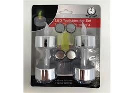 LED T-Light - silber Yellow Flicker Mit 5h-Timer - 4-Pack + 4 extra Batteries