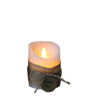 "LED Wachskerze weiss rustic ""Thank you"" mit beweglicher Flamme D:7.5cm - H:10cm"