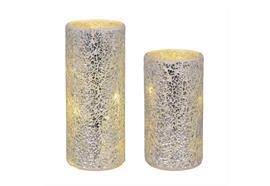 LED-Windlicht Silber 2er Set - gebrochenes Glas mit Mosaikstruktur D:10cm/H:18cm u.23cm