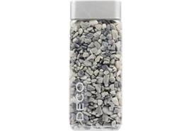 Natursteine 5-8mm grau - Flasche eckig Inhalt: 825gramm/ 550ml Deckel: silber