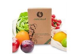 Obstbeutel 4er Set  3 Obst- und Gemüsebeutel  plus 1 Brottasche aus  100% Biobaumwolle