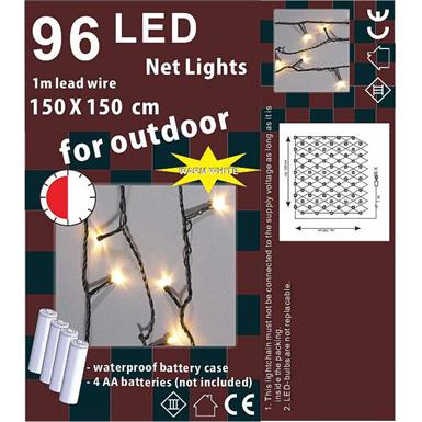 Outdoor Lichternetz - 1,5m x 1,5m Batteriebetr. - 96 LED mit 6h Timer - IP44
