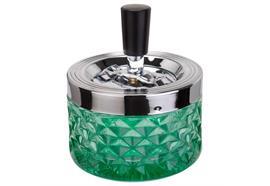 Schleuder-Aschenbecher grün D:9.5 H:11.5cm Glas gepresst Aluminium poliert