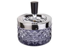 Schleuder-Aschenbecher rauch D:9.5 H:11.5cm Glas gepresst Aluminium poliert