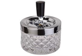 Schleuder-Aschenbecher transparent D:9.5 H:11.5cm Glas gepresst Aluminium poliert