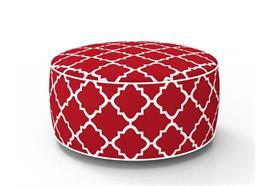 Sitzhocker aufblasbar D:53cm H:23cm Farbe: Rot/Weiss Wetterfest und UV-Resistent