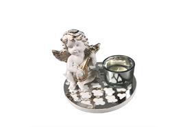 Teelichthalter Engel mit Gittare sitzend H:10cm B:12cm