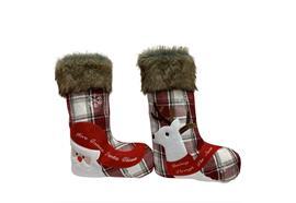 Weihnachts-Stiefel 2-assortiert Santa und Rentier H:40cm B:27cm Farbe: Rot/Weiss Karo