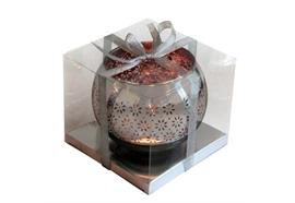 Windlicht Kugel aus Glas  Farbe: Silber/Roségold  D:10cm H: 8.5cm