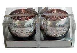 Windlichter Kugelform aus Glas 2er Set D:8.5cm H:7.3cm Farbe: Silber/Roségold