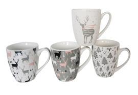XMAS Keramik Tassen 4er Set mit  4 Design assortiert H:11cm D:9cm  Material: Keramik